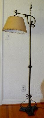 VINTAGE CIRCA 1930s ANTIQUE 5' - 6' CAST IRON BRIDGE ARM FLOOR LAMP W/ SHADE