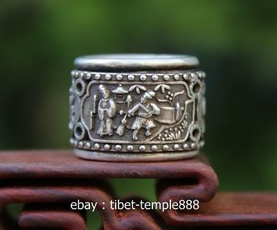 China Miao Jewelry Silver Flexible rotate hollow out figural Pattern Finger Ring