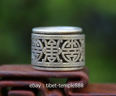 Chinese Miao Jewelry Silver Flexible rotate hollow out Lucky Pattern Finger Ring