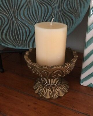 """VINTAGE Golden Bronze Colored Pillar or Taper Candle Holder 5""""w X 4-1/2""""h"""