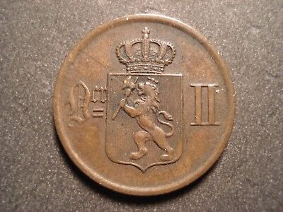 Norway 2 Ore, 1877  Very Nice Collectable Condition