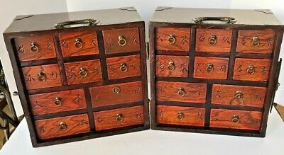 Antique Chinese Traveling Apothecary Folding Tea Chest Hard wood
