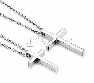 "Simple Men Women Stainless Steel Silver Cross Pendant Necklace Chain 20"" Gift"