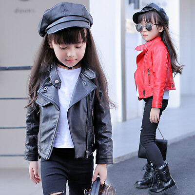 Toddler Baby Boy Girl Motorcycle Faux Leather Jackets Coat Winter Outwear