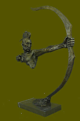 Art Deco Western Indian Male Warrior Bronze Sculpture Marble Statue Figurine Bow