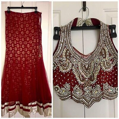 Beautiful Dark Red Fancy Lehenga with Stone Work-Both long or Short Choli option