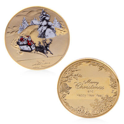 Hot Merry Christmas Santa Claus Deer Sleigh Commemorative Coin New Year Souvenir