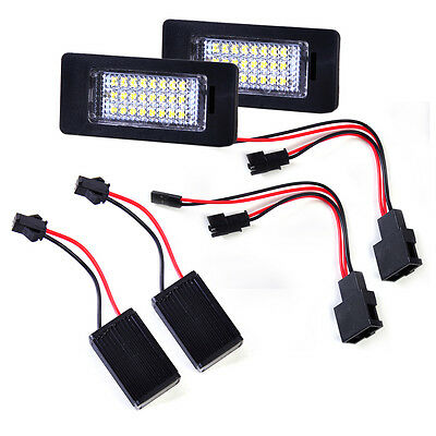 Pair For Audi A4 A5 Q5 TT Quattro 24 LED License Number Plate Light Lamp Canbus