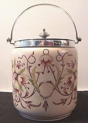 Macintyre/Moorcroft floral pottery biscuit barrel with epns collar, lid & handle