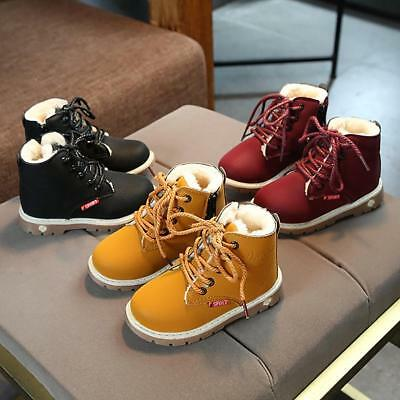 Kid Martin Shoes Winter Warm Boys Girls Ankle Boot Baby Kids Boots Size 26-30 UK