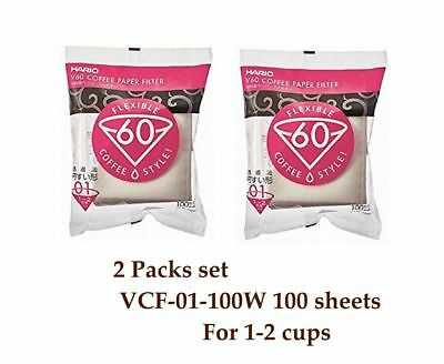 Hario V60 Coffee Paper filter White 100 sheets VCF-01-100W 1-2 cups 2 Packs set