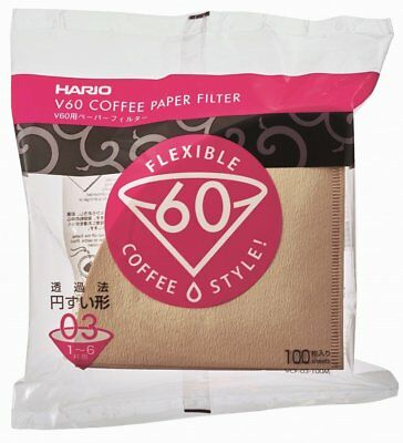 Hario V60 Coffee Paper filter White 100 sheets VCF-03-100M 1-6 cups