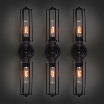 Vintage Industrial Retro Iron 1/2 Heads Wall Lamp Sconce Light Edison Bulb Decor