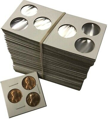 3 hole 2x2 Coin Mylar Cardboard Flips For Penny Cents / PDS Set Cowen's US