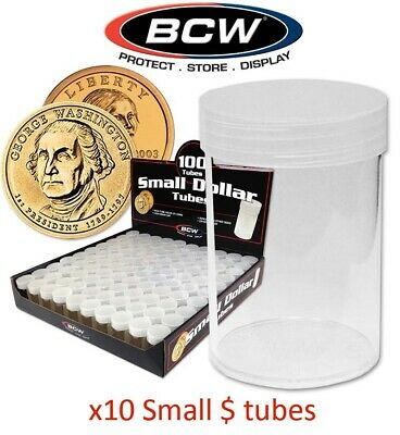 Small Dollar $ Coin Tubes Lot Of 10 BCW Round Clear Plastic Holders Lot Screw On
