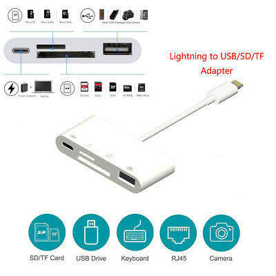 For iPad iPhone X 5 7 8 Lightning to USB2.0 Camera Converter Cable SD/TF Menory