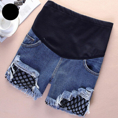 Summer Pregnant Womens Shorts Jeans Holes Denim Care Belly Maternity Pants M-3XL
