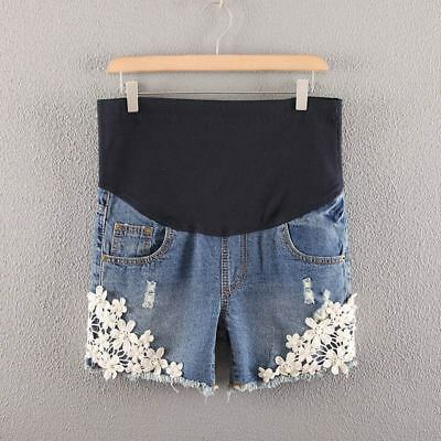 Summer Denim Maternity Shorts for Pregnant Women Jeans Lace Crochet Belly Pants