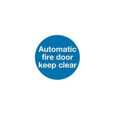 KM73AS , Safety Sign Automatic Fire Door 100x100mm Self-Adhesive pack of 5