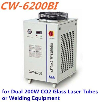 S&A CW-6200BI Industrial Water Chiller for Dual 200W CO2 Glass Laser Tubes 220V