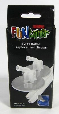 thermos FUNtainer 12 oz bottle REPLACEMENT STRAWS 2 complete sets CLEAR nib