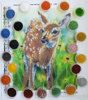 Bambi Bead Embroidery kit Deer baby fawn Needlepoint Beaded stitching Tapestry
