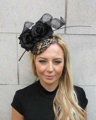 Black & Gold Rose Flower Feather Pillbox Hat Hair Fascinator Wedding Races 5620