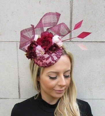 Burgundy Wine Red Blush Light Pink Flower Feather Hat Fascinator Races Hair 5622