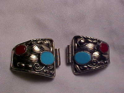 Navajo Wrist Watch Silver Attaching Sides with Turquoise & Coral