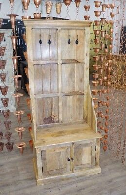 Indian Antique style Mango Wood Hall Unit with Coat Hooks And Cupboard Storage