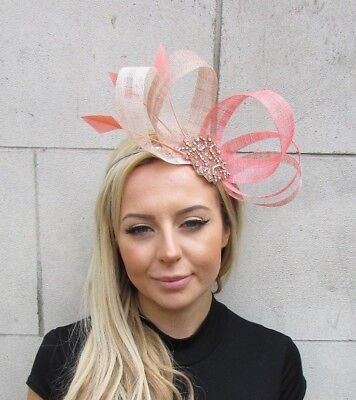 Nude Coral Rose Gold Pink Silver Sinamay Feather Hair Fascinator Headband 5628