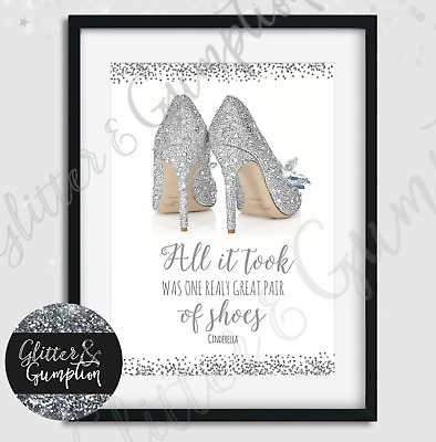 Fashion Designer Shoes cinderella quote bedroom office wall art print