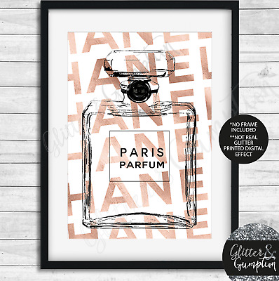 Abstract Fashion iconic Perfume rose gold text beauty room office art wall print