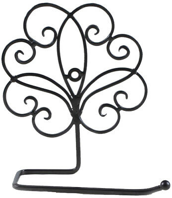 French Country Vintage Inspired Wall TOILET ROLL HOLDER BLACK Wrought Iron New