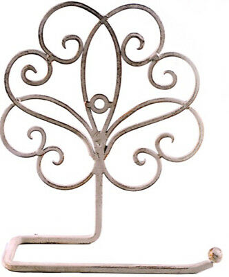 French Country Vintage Inspired Wall TOILET ROLL HOLDER CREAM Wrought Iron New