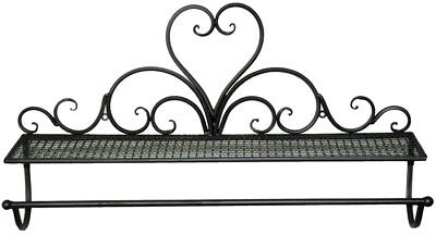 French Country Vintage Kitchen SHELF WITH TOWEL RACK Wrought Iron Holder New
