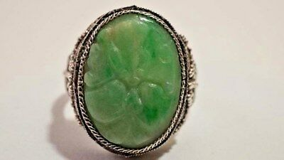 F513 Vintage Chinese Export Silver Floral Design Carved Jade Resizable Ring