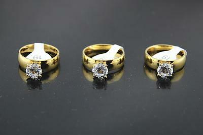 wholesale lots 30pcs stainless steel Big CZ Gold Plated Wonderful rings
