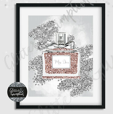 Fashion Art Iconic Perfume miss dior rose gold and silver beauty room art print