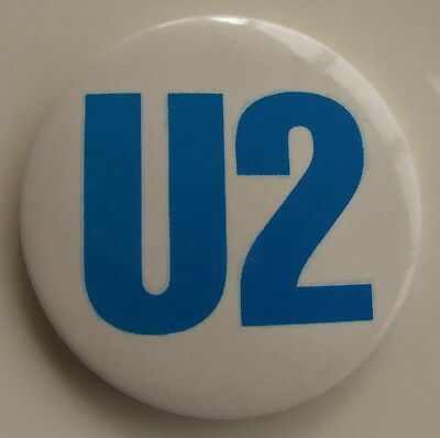U2 BLUE LOGO LARGE VINTAGE METAL PIN BADGE FROM THE 1980's JOSHUA TREE