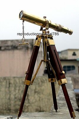 Vintage Solid Brass Telescope With Wooden Tripod Nautical Navy Ship Telescope
