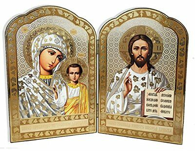 Gold Foil Christ the Teacher and Virgin of Kazan Russian Orthodox Icon Diptyc...