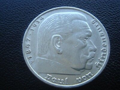 Germany 1936 F Hindenburg 5 Reichsmark mark silver Coin Third reich   H1