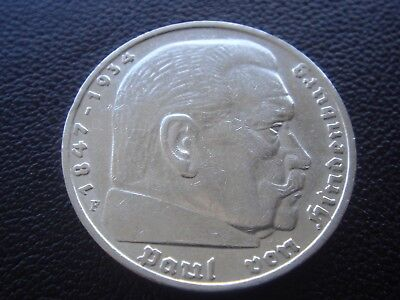 Germany 1936 F Hindenburg 5 Reichsmark mark silver Coin Third reich   H2