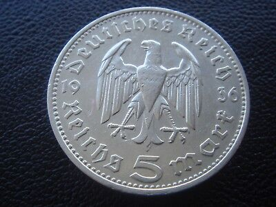 Germany 1936 F Hindenburg 5 Reichsmark mark silver Coin Third reich   H3
