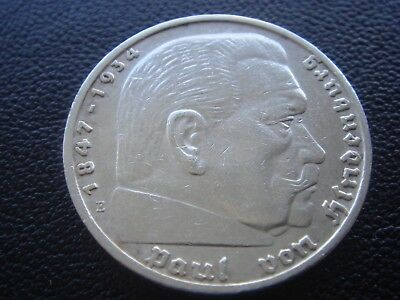 Germany 1936 E Hindenburg 5 Reichsmark mark silver Coin Third reich   H