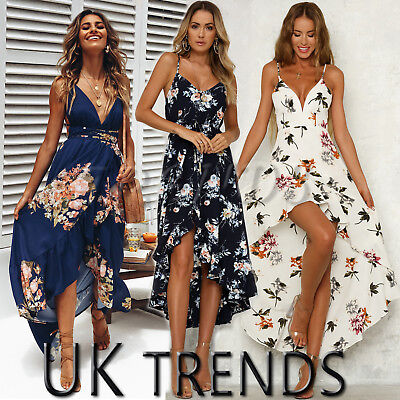 UK Womens Holiday Plunge Ladies Maxi Long Summer Print Beach Dress Size 6-14