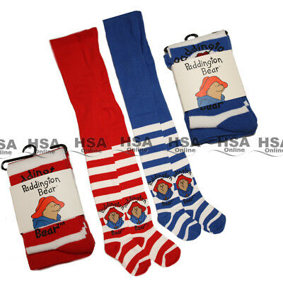 Girls Tights 1/2 Pack Paddington Bear Character Stripe Kids 1-8 Yr Birthday Gift