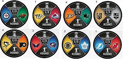 2018 1St Round Playoff Puck Set 8 Pucks Nhl Dueling Team Stanley Cup Final ??