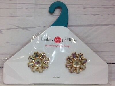 Lindsay Phillips Snaps Shoe Jewelry Lucille Goldtone Clear Iridescent Stones